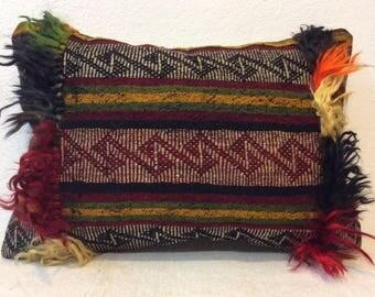 14x20 kilim pillow,lumbar pillow cover,Home design pillow,Vintage pillow cover,Angora wool,Decorative pillow cover,35x50 Cm pillow case