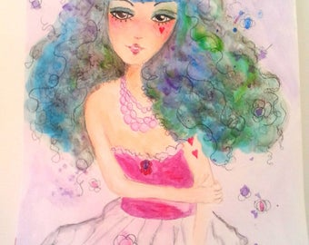 "Illustration ""Lili Princess"", illustration made with watercolor paint"