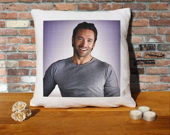Hugh Jackman Pillow Cushion - 16x16in - White