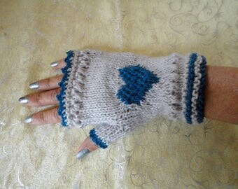 Fingerless gloves dark beige and blue heart, knitted, one size