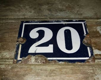 Vintage French Enamel House Number /Sign 20 In Blue And White, Enamelware, Decor, French,Gift