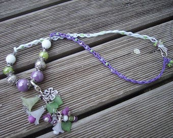 Necklace soutache flowers and ceramic beads