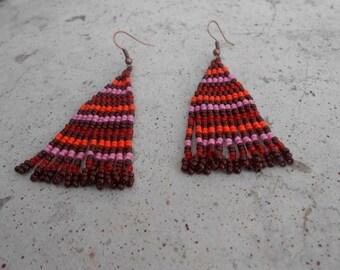 """Egyptian"" orange and pink seed beads beaded earrings"