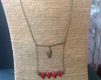Ethnic bronze and Red coral necklace.