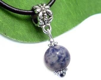 Silver plated sphere pendant - sodalite