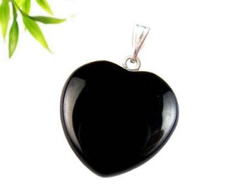 Silver plated - black onyx heart pendant
