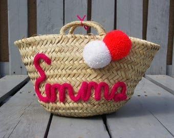 Small tote or straw basket customized with tassels