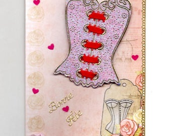 273 - Corset pink and Red Valentine greeting card