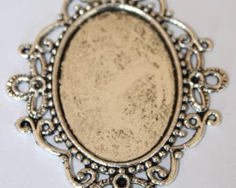 support cabochon silver 46 * 57 mm, inside 24 * 34 mm