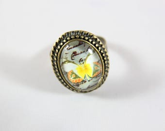 cabochon, orange yellow Butterfly Adjustable ring