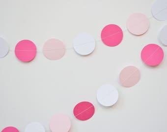 pink white garland, white pink banner, paper garland, pink baby shower, birthday garland, baby shower garland, pink party decor, valentines