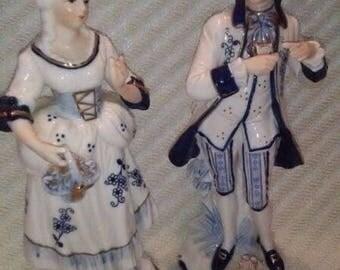 Vintage KPM Porcelain Woman and Man Figurines