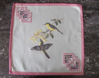 Square doily embroidered in Hardanger and cross stitch