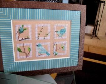 """Table six squares """"garden birds"""""""