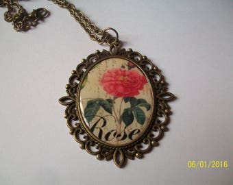 bronze color pendant and resin cabochon