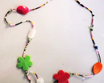 """AMBIVALENCE"" hodge podge bucolic, colorful and unusual necklace."