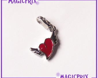 CHARM red m049 silver heart charm