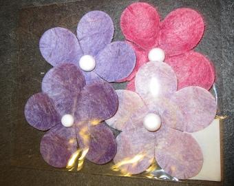 set of 4 pink violet paper flowers