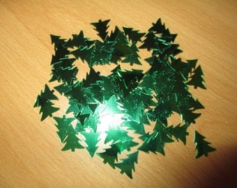 set of silver-green Christmas tree table confetti