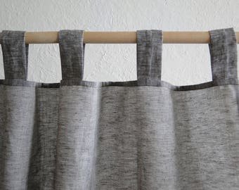 Linen Curtain. Natural curtains. Linen windows panel. Linen curtains with ties. Stonewashed. Window curtains. All Sizes. Ties top.