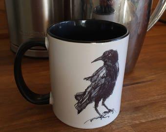 Crow mug with black handle