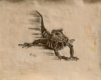 Iguana charcoal drawing for framing