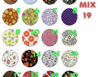 cabochon 25 mm glass choice Mix19-25