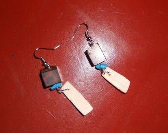 Wood earrings, bone and turquoise stone