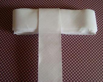 Flat 3 cm wide not folded white cotton bias
