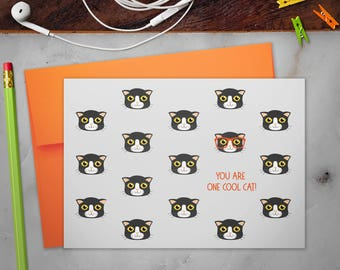 Stationery Note Cards Set with Envelopes | Cool Cat with Glasses