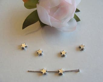 Set of 12 star 6 * 6 mm metal beads
