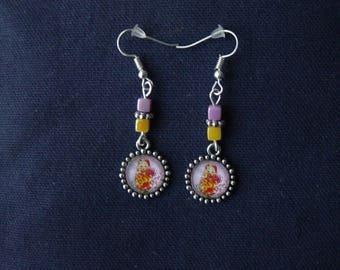 Matryoshka earrings orange background light purple