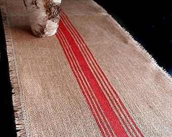 "12.5"" Inches X 108 Inches RED Burlap Table Runner with Stripes"