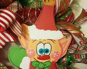 Front Door Wreath, elf wreath, Wreath for Christmas, Best Door Wreath, Holiday Wreath, Red Xmas Decor, Custom Door Wreath, Christmas Wreath