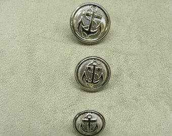 Military anchor buttons silver 13 mm