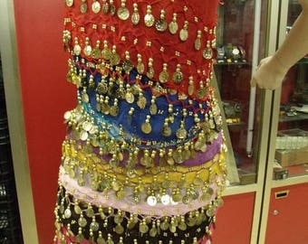 Belt / belly dance scarf 3 rows of sequins - 10 colors