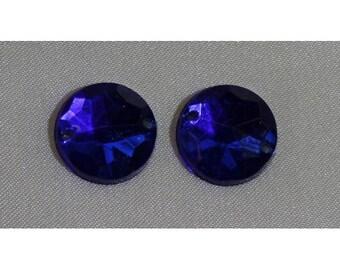 round acrylic rhinestone - 15 mm - dark blue