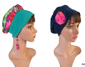 """REVERSIBLE beret """"Louise"""" & its removable fabric flower"""