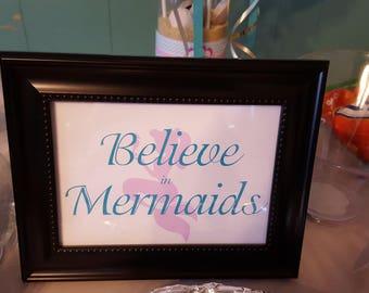 Mermaid sign   Believe in mermaids sign   Mermaid party