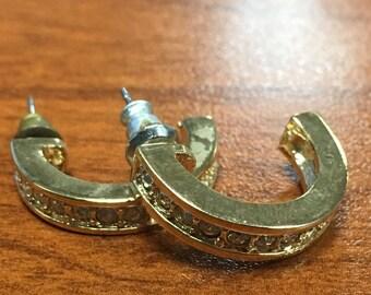 Faux Diamond Hoop Earrings