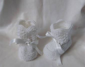Baby / reborn wool 0/3 month white stitch fancy