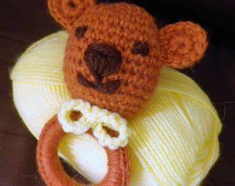 Crochet caramel Teddy bear with bow yellow rattle