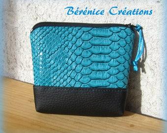 "Wallet ""joyful color"" turquoise python"