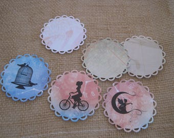 Set of 6 images, embellishments, cuts, dies, fairy, cage, bird, bike
