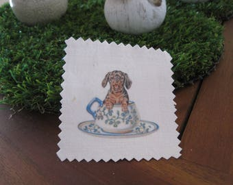 Image transfer, a thimble, dog, humorous mug