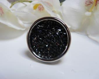 Swarovski crystal ring rock Tray 30mm + black 24mm swarosvki pastille