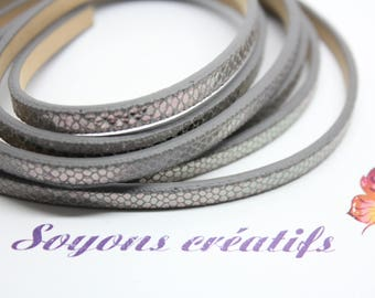 1 m strap in leather effect snake grey 5 mm - Creation jewels - P3604