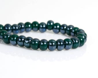 Lot 50 beads flat round glass 6mm blue green - SC77045-