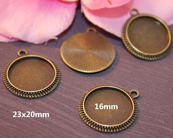 Media disk 2 x Bronze 16mm cabochon