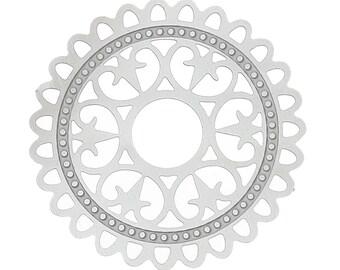 Set of 10 prints charm filigree silver steel 32mm SC59514